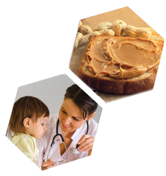 2 hexagons with one containing peanut butter on bread and the other a doctor smiling at a small child.